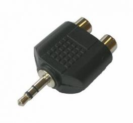 Adattatore 2 prese RCA - spina mini Jack 3,5 mm stereo HY1745 Master Audio in ABS e metallo
