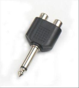 Adattatore 2 prese RCA - spina Jack 6,3 mm mono HY1750 Master Audio in ABS e metallo