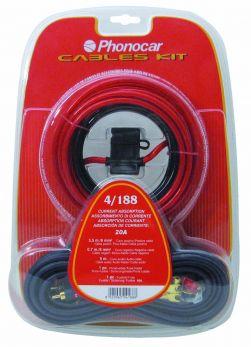 Set cavi e accessori con cavi sez. 6 mm2 + cavo audio + portafusibile + fusibile Phonocar 04188