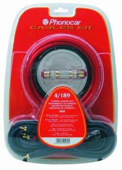 Set cavi e accessori con cavi sez. 10 mm2 + cavo audio + portafusibile + fusibile Phonocar 04189