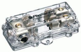 Portafusibile 2 uscite fusibili 10x38 Cavo In 3x25 mm2 Cavo Out 2x10 mm2 Phonocar 04487