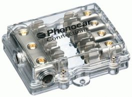 Portafusibile 4 uscite fusibili 10x38 mm Cavo In 3x25 mm2 Cavo Out 4x10 mm2 Phonocar 04489