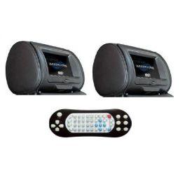 HSHM9DD HARDSTONE Poggiatesta (Coppia ) pelle nera con monitor Alta definizione + lettore DVD, USB SD 800x480