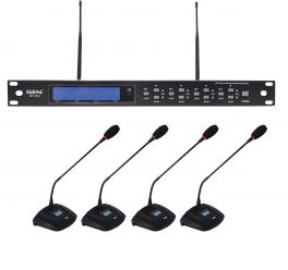 KARMA SET 8042 Kit per conferenze wireless UHF - 4 mic da tavolo