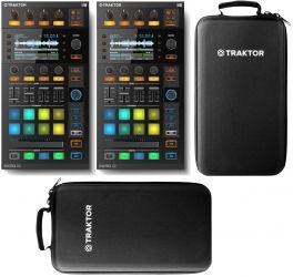 NATIVE INSTRUMENTS TRAKTOR KONTROL D2 DJ DECK CONTROLLER PRO 2 STEMS READY COPPIA + 2 CUSTODIE SEMI RIGIDE ORIGINALI EX-DEMO