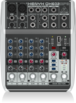 BEHRINGER QX602-MP3 XENYX MIXER 6 CANALI LETTORE MP3/USB EFFETTI VOCE KARAOKE REVERBERO/DELAY +48V