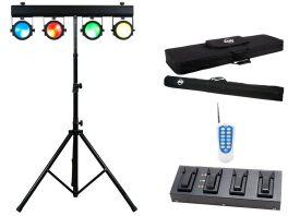 AMERICAN DJ DOTZ TPAR SYSTEM ADJ BARRA T 4 PROIETTORI WASH STROBO DMX TRI LED COB RGB + STATIVO + RADIOCOMANDO