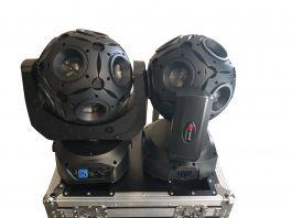 EXTREME QUAD METEOR 1215 COPPIA TESTE MOBILI A SFERA 12 LED X 15W RGBW DMX 8 CANALI EFFETTI + CASE IN OMAGGIO