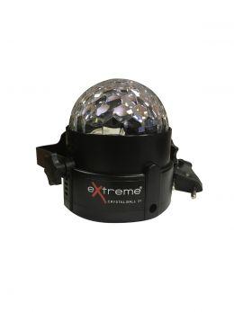 EXTREME CRYSTAL BALL 31 EFFETTO LUCE LED MAGIC MEZZA SFERA RGB 3x1W SFERA INDOOR + CONTROLLO SOUND ACTIVE
