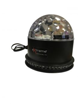 EXTREME CRYSTAL BALL 318 EFFETTO LUCE LED MAGIC MEZZA SFERA RGB 3x1W + 8W SUN-FLOWER 48X5MM 16XRGB LEDS INDOOR AUTO SOUND ACTIVE