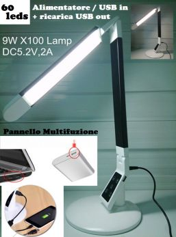 EXTREME TOUCH DESK LAMP X100-B BLACK LAMPADA RETE / USB REGOLABILE DA TAVOLO 60 LED CONTROLLO TEMPERATURA COLORE INTENSITA' TIMEOUT MEMORIA RICARICA SMART-PHONE TABLET