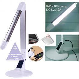 EXTREME TOUCH DESK LAMP X100-S SILVER LAMPADA RETE / USB REGOLABILE DA TAVOLO 60 LED CONTROLLO TEMPERATURA COLORE INTENSITA' TIMEOUT MEMORIA RICARICA SMART-PHONE TABLET