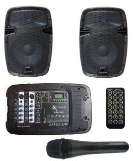EXTREME PPA210D COMBO CASSE+MIXER+REVERBERO+PLAYER BLUETOOTH USB SD+MICROFONO+3 CAVI / BUNDLE SISTEMA PA PORTATILE COMPATTO 200W 4 IN XLR 2 STEREO JACK