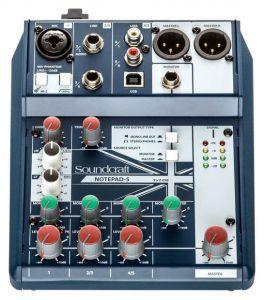 SOUNDCRAFT NOTEPAD-5 MIXER 5 CANALI USB PHANTOM POWER +48V PREAMPLIFICATORE MICROFONICO