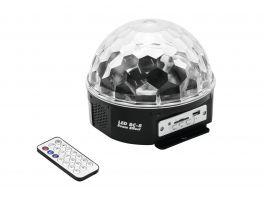 EUROLITE LED BC-8 BEAM MIRROR BALL EFFETTO LUCE BEAM CON SPEAKER E LETTORE MP3 USB SD INTEGRATI