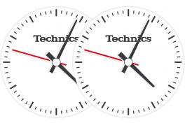 TECHNICS SLIPMATS TAPPETINI GIRADISCHI LOGO TECHNICS TIME - NERO E BIANCO COPPIA TAPPETINI