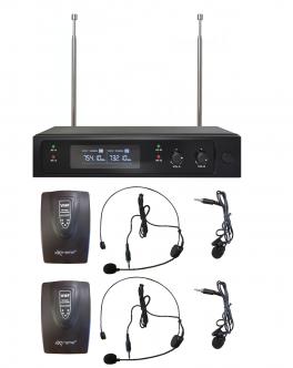 EXTREME WM2000D-HL DOPPIO RADIOMICROFONO VHF AD ARCHETTO E LAVALIER + TRASMETTITORE BODYPACK + RICEVITORE TRUE DIVERSITY CON DISPLAY LCD