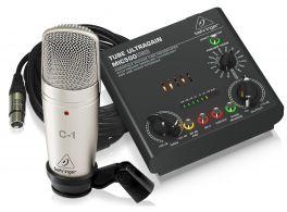 BEHRINGER VOICE STUDIO BUNDLE C1 MICROFONO STUDIO + CLAMP + CAVO + PREAMP 16 PRESET E INTERFACCIA AUDIO USB