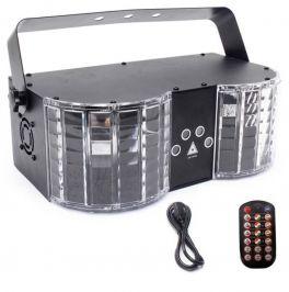 EXTREME BUTTERFLY KING EFFETTO LUCE DOPPIO LASER RG 2X200MW 2X30MW LED RGB 8x3WATT 30 PATTERN DMX SOUND AUTO