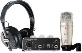 BEHRINGER U-PHORIA STUDIO BUNDLE INTERFACCIA AUDIO USB UM2 + MICROFONO C1 + CUFFIE HPS5000