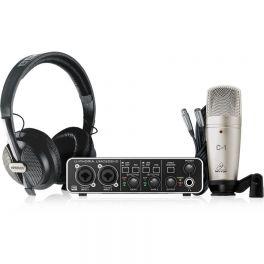 BEHRINGER U-PHORIA STUDIO PRO KIT REGISTRAZIONE INTERFACCIA AUDIO USB UMC202HD MICROFONO A CONDENSATORE C1 CUFFIA HPS5000