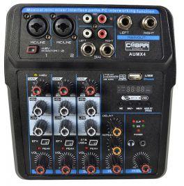 COBRA AUMX4 MINI MIXER 4 CANALI CON LETTORE USB E BLUETOOTH + ALIMENTAZIONE PHANTOM