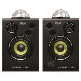 """HERCULES DJ MONITOR 32 PARTY COPPIA MONITOR ATTIVI 30W 3"""" 2 VIE CON EFFETTI LUCE LED E TELECOMANDO"""