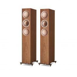 Kef R5 WALNUT coppia diffusori da pavimento TRE Vie Bass Reflex. Uni-Q Tweeter 25mm + Mid 125mm